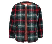 Checked Boucl&eacute Jacket Dunkelgrün