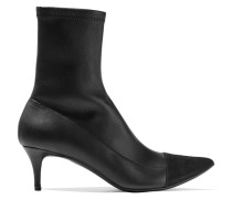 Suede-paneled Stretch-leather Boots Schwarz