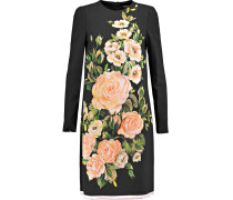 Floral-print Crepe Mini Dress Schwarz