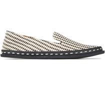 Loafers aus Canvas und Webstoff mit Lederbesatz