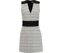 Crepe-paneled ribbed cotton-blend jaquard dress