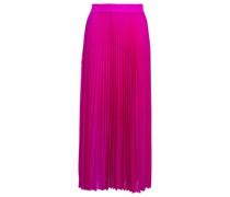 Satin-trimmed Pleated Voile Midi Skirt