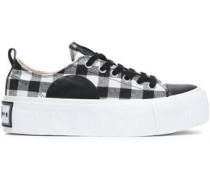 Plimsoll Leather-trimmed Gingham Canvas Platform Sneakers Black