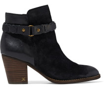 Minetta Leather And Suede Ankle Boots