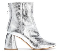 Metallic Snake-effect Leather Ankle Boots Silver
