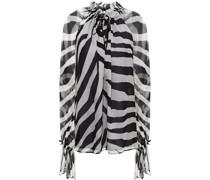 Geraffte Bluse aus Seidenkrepon mit Zebraprint