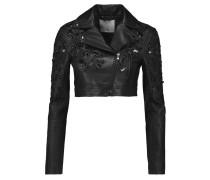 Lola Cropped Embellished Leather Jacket Schwarz