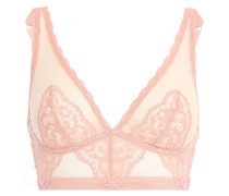 Woman Peony Embroidered Stretch-tulle Bralette Baby Pink