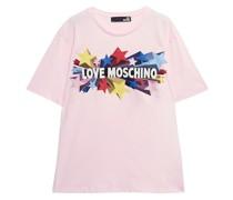 Glittered Printed Cotton-jersey T-shirt