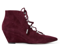 Wing Lace-up Suede Pumps Burgunder