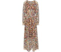 Andrea Gathered Floral-print Crepe De Chine Maxi Dress