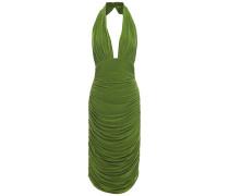Crystal-embellished Ruched Stretch-jersey Halterneck Dress