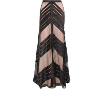 Lilith pleated tulle-paneled satin maxi skirt