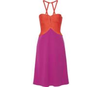 Fluted two-tone bandage halterneck dress