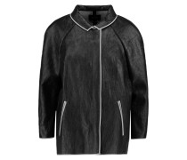 Fred Textured Faux Leather Coat Schwarz