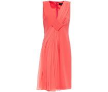 Draped Paneled Silk-crepe And Wool Dress