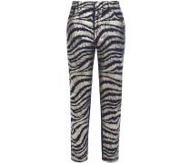 Cropped Metallic Zebra-print High-rise Straight-leg Jeans