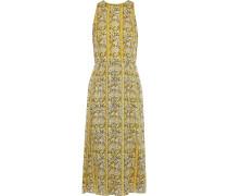 Pleated Printed Burnout Georgette Midi Dress