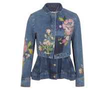 Layered embroidered denim jacket