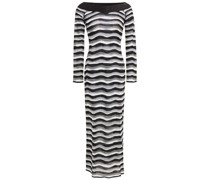 Off-the-shoulder Metallic Striped Knitted Midi Dress