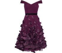 Off-the-shoulder Velvet-trimmed Floral-appliquéd Tulle Dress