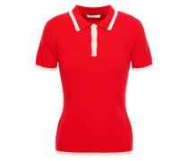 Striped Ribbed Merino Wool-blend Polo Shirt