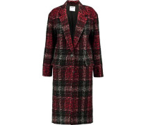 Leopard-print embossed checked twill coat