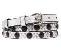 Metallic Embellished Leather Belt Silber