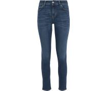 Woman Distressed Mid-rise Skinny Jeans Mid Denim