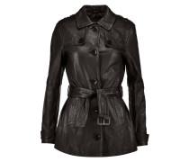 Arrow Leather Trench Coat Schwarz