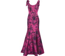 Fluted Bow-embellished Jacquard Gown Fuchsia