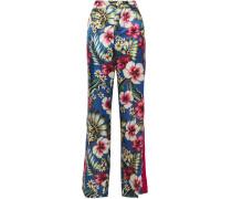Woman Hydros Floral-print Satin-jacquard Wide-leg Pants Blue