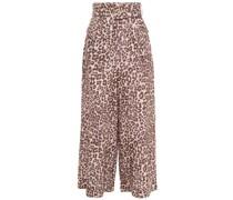 Hose mit Weitem Bein aus Leinen mit Leopardenprint und Gürtel