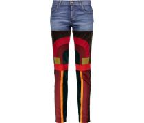 Patchwork Velvet And Satin-paneled Mid-rise Slim-leg Jeans Mehrfarbig