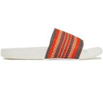 Striped Woven Raffia Slides