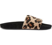 Leopard-print calf hair and suede slides