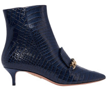 Woman Editor Chain-trimmed Croc-effect Leather Ankle Boots Midnight Blue
