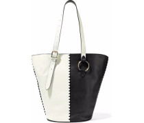 East/West two-tone leather bucket bag