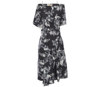 Draped Floral-print Wool And Silk-blend Dress
