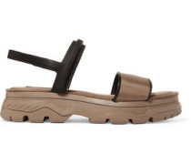 Addie woven-paneled rubber and scuba sandals