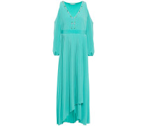 Cold-shoulder Wrap-effect Pleated Crystal-embellished Mousseline Maxi Dress