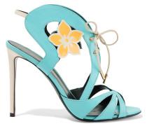 Floral-embellished Leather Sandal Türkis
