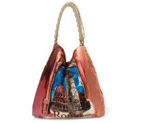 Chain-trimmed printed satin-twill tote