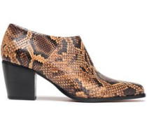 Hamilton Snake-effect Leather Ankle Boots Animal Print