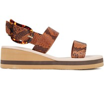 Clio Snake-effect Leather Wedge Sandals