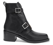 Fallon Buckled Leather Ankle Boots