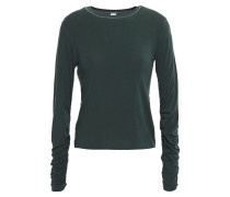 Woman Ruched Stretch-jersey Top Forest Green