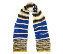 Metallic Striped Ribbed-knit Scarf Blau