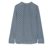 Gathered printed silk crepe de chine blouse