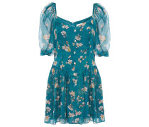 Gathered Floral-print Silk-voile Mini Dress